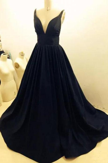 Black Strap Black Satin Prom Party Dresses 2018, Sweep Train Plus Size Sexy V-neck Evening Dresses, Black Formal Gowns
