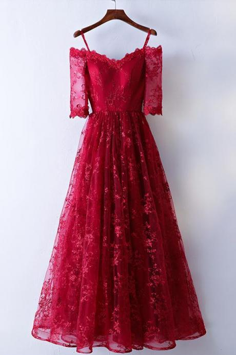 Lace Long Off Shoulder Short Sleeves A-line Formal Dresses, Dark Red Prom Dresses, Party Gowns 2018
