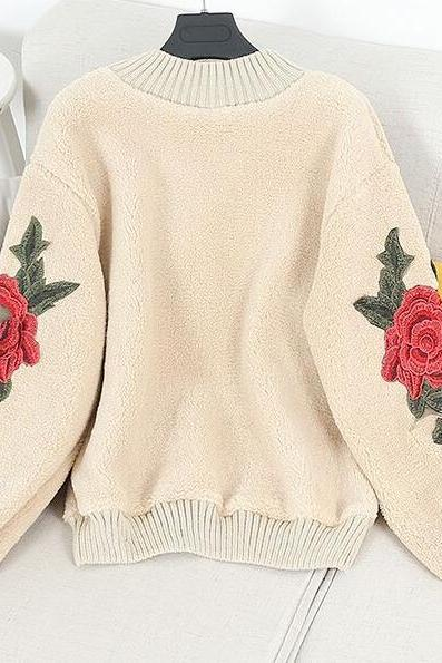 Lovely Rose Floral Sweater 2018, Teen Fashion Sweater, Autumn One Size Sweaters