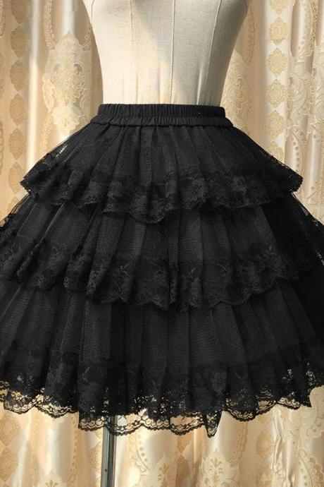 Lovely Kawaii Cute Lace 3 Layers Skirts, Black Short Skirts, White Skirt, Women Lace Skirts