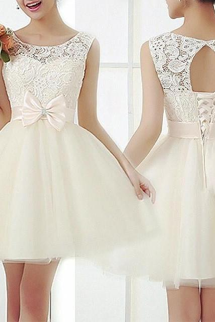 Cute Lace and Tulle Prom Dress, Ivory Sweet 16 Dresses with Bow, Lovely Formal Dresses