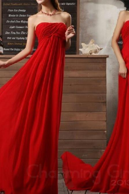 Chiffon Gorgeous Red A-line Floor-Length Simple Style Formal Dresses, Red Bridesmaid Dresses, Long Prom Gowns