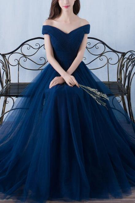 Elegant A-line Off Shoulder Blue Gowns, Navy Blue Tulle Prom Dresses 2018, Charming Party Dresses