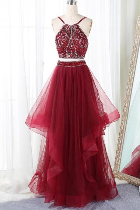 Stylish Straps Wine Red Backless Beaded Two Piece Formal Dresses, Two Piece Prom Dresses,Halter Party Dresses 2018