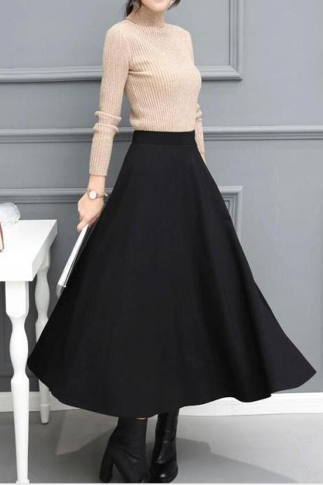 Winter Black Long Skirts, Fashionable Skirts 2018 for Autumn, Black Skirts for Women