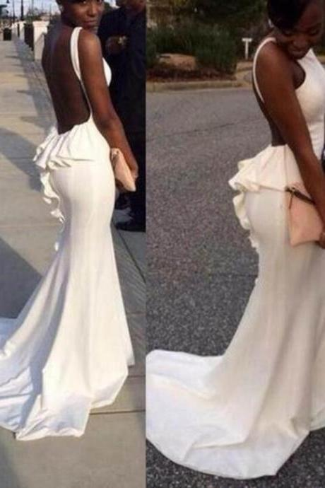 Beautiful White Ruffled Backless Mermaid Spandex Prom Dresses 2018, Prom Gowns,Prom Dresses 2018, Lovely Formal Gowns