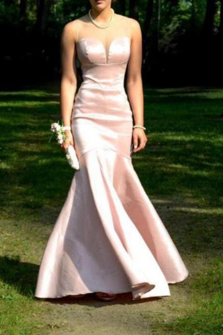 Lovely Pink Mermaid Prom Dress,Evening Dress,Satin Prom Gowns, Long Prom Dresses 2018