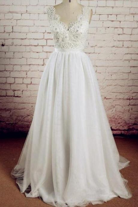 A-line V-neckline Tulle and Lace Simple Wedding Dresses, Lovely Formal Gowns, Charming Love Prom Dresses