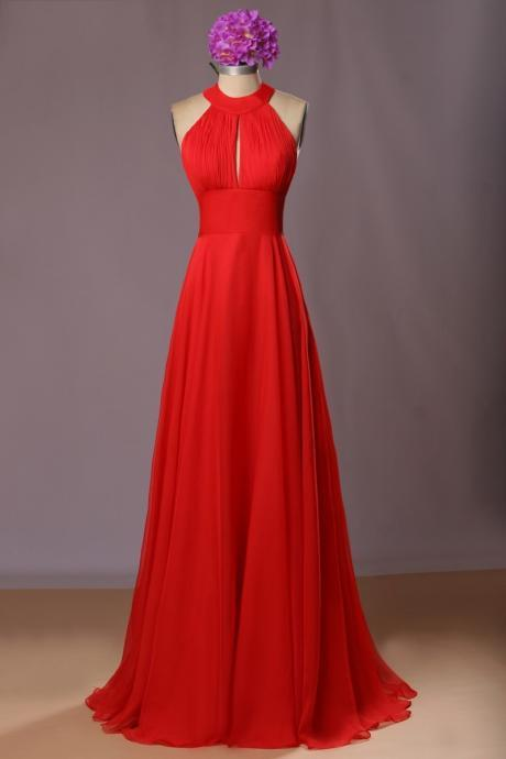 Red Halter Open Black Sexy Prom Dresses, High Quality Chiffon Prom Dresses, Red Wedding Party Dresses