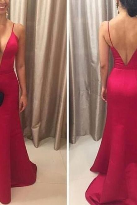 Sexy Deep V-neckline Red Straps Party Dresses, Red Prom Dresses, Party Dresses, Red Formal Dresses