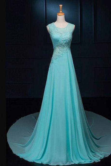 Beautiful Chiffon A-line Formal Dresses for Party, Elegant Prom Dresses with Sweep Train, Formal Gowns