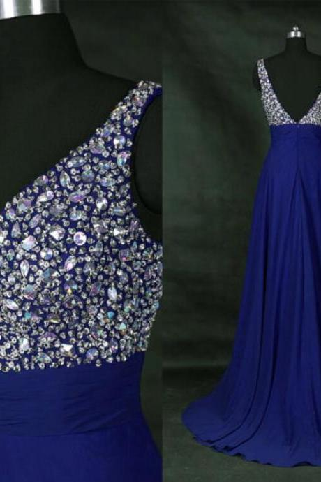 Sparkle Royal Blue V back Long Prom Gowns, Long Graduation Party Dresses, Wedding Party Gowns