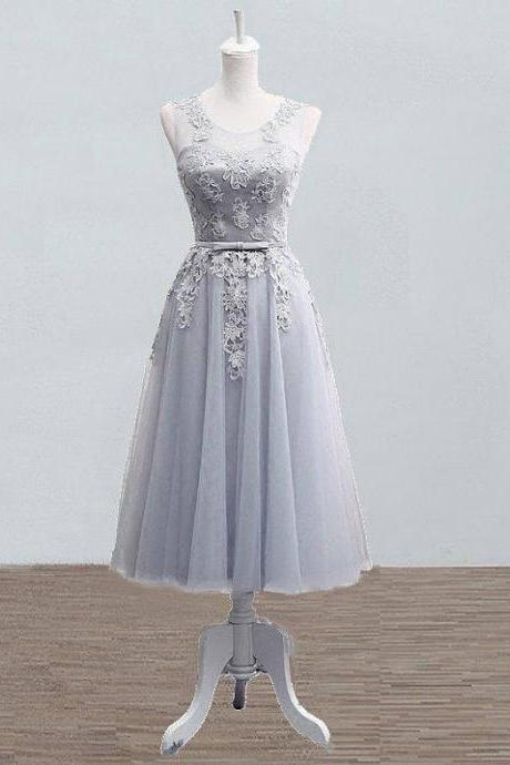 Grey-Sliver Tea length Bridesmaid Lace Dress, Bridesmaid Sleeveless Dress, Short Prom Dresses