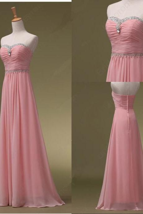 Beaded Fashion Long pink Chiffon Prom Dresses, New Style Prom Dresses 2018
