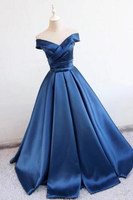 Blue Satin Off-The-Shoulder Plunge V Floor Length Ball Gown Featuring Bow Accent Belt, Formal Dress, Prom Dress