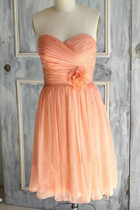 Orange Sweetheart Short Bridesmaid Dresses, Pretty Simple Bridesmaid Dresses, Lovely Wedding Party Dresses