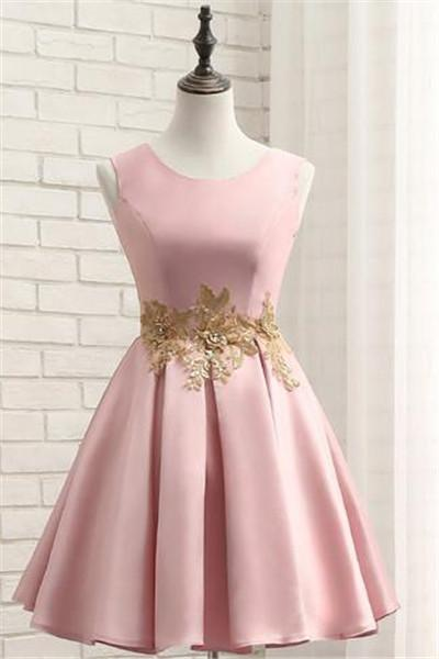 Pink Short Satin Homecoming Dress with Gold Applique, Short Prom Dresses, Lovely Formal Dresses 2018