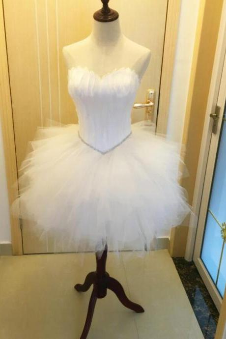 Lovely White Feathered and Tulle Cocktail Dresses, Cute White Mini Party Dresses, White Short Prom Dresses