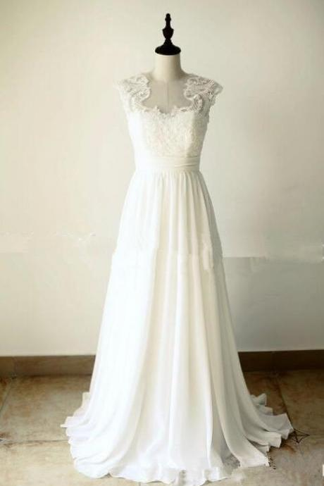 White Long Chiffon and Applique Prom Dresses, Simple Wedding Gowns, White Formal Dresses