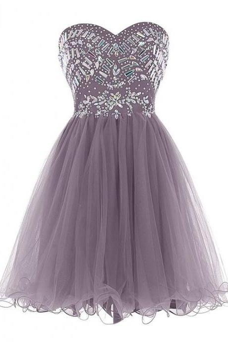 Adorable Style Strapless Sweetheart Homecoming Dresses, Beading Short Prom Dress, Tulle Formal Dresses