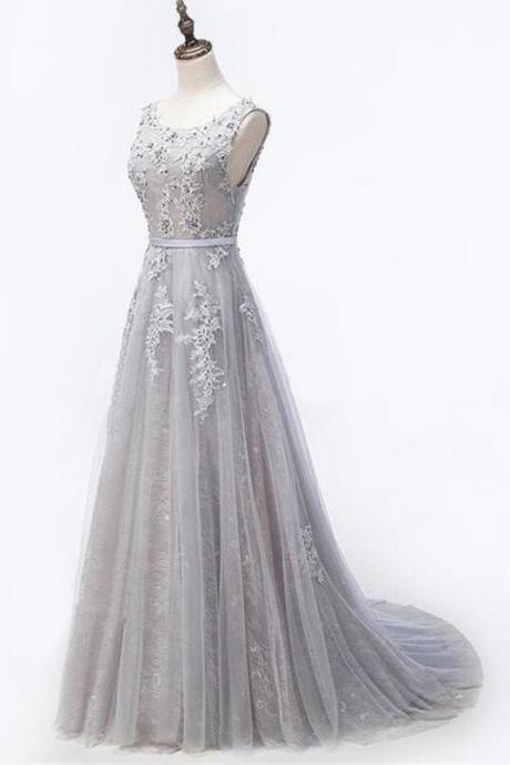 Beautiful New Style Grey Lace Beaded Round Neckline Evening Prom dresses,Handmade High Quality Party Dresses, Grey Formal Gowns