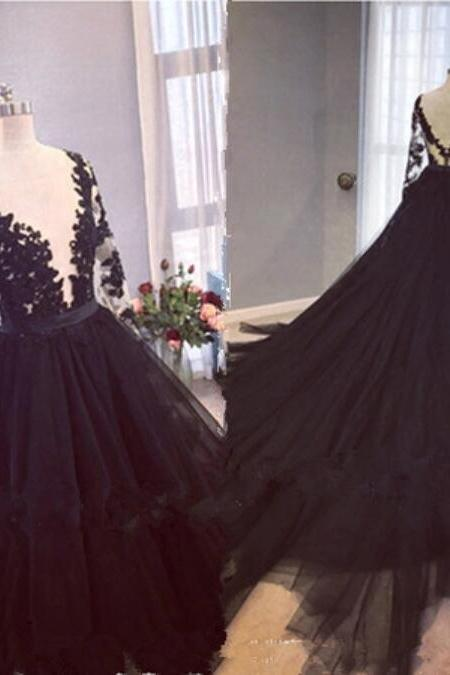 Gorgeous Black Tulle V-neckline Lace Applique Party Dresses, Black Formal Gowns, Wedding Gowns