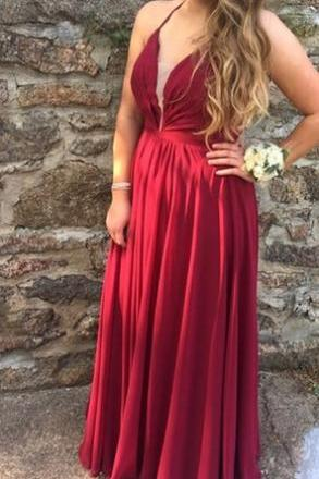 Wine Red Chiffon Halter Long Prom Dresses, Pretty Party Dresses, Floor Length Prom Dress 2018
