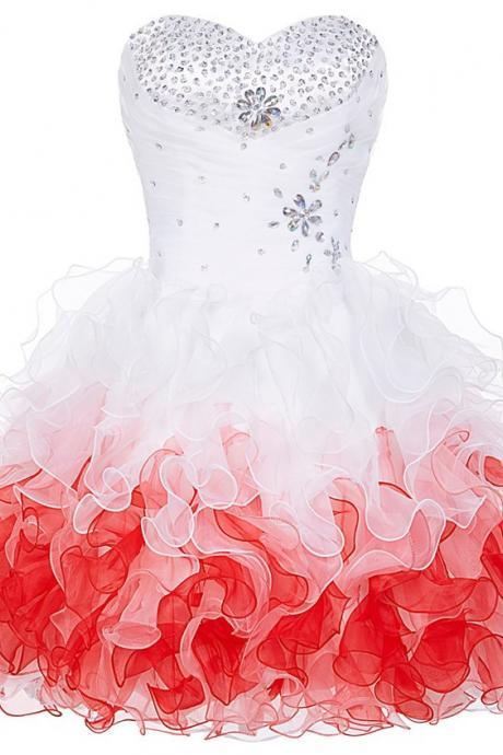Cute White and Red Homecoming Dresses,Beaded Homecoming Dress,Short Prom Dresses 2018, Teen Formal Dresses