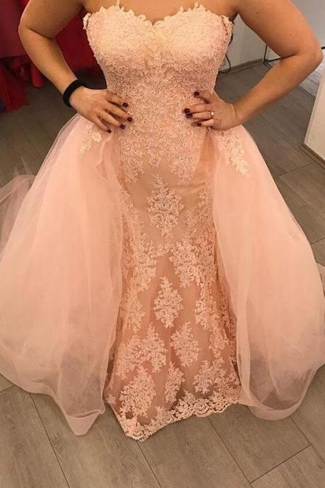 Pearl Pink Mermaid Lace Evening Gowns,Tulle Train Lace Appliqued Mermaid Evening Dresses,Pretty Prom Dresses 2018
