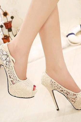 Peep-Toe White Lace Stiletto Pumps Adorned with Ribbon and Diamond Beading , Bridal Shoes, Prom Heels