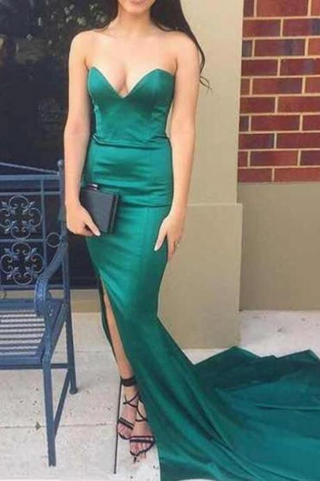 Hunter Green Slit Mermaid Evening Formal Gowns, Sexy Prom Dresses, Wedding Party Dresses