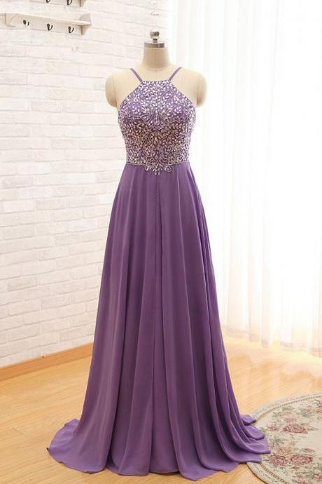 Purple Straps Beaded Floor Length Formal Dresses, Purple Party Dresses, Formal Gowns