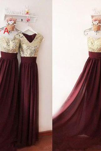 Maroon Chiffon and Gold Sequins Mismatch Bridesmaid Dresses, Long Maroon Bridesmaid Dresses, Prom Dresses