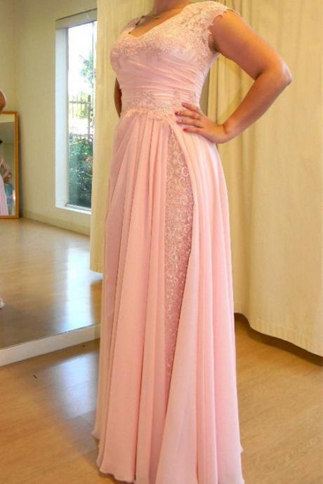 Chiffon and Lace Pink Prom Dresses, A-line Elegant Party Dresses, Wedding Party Gowns