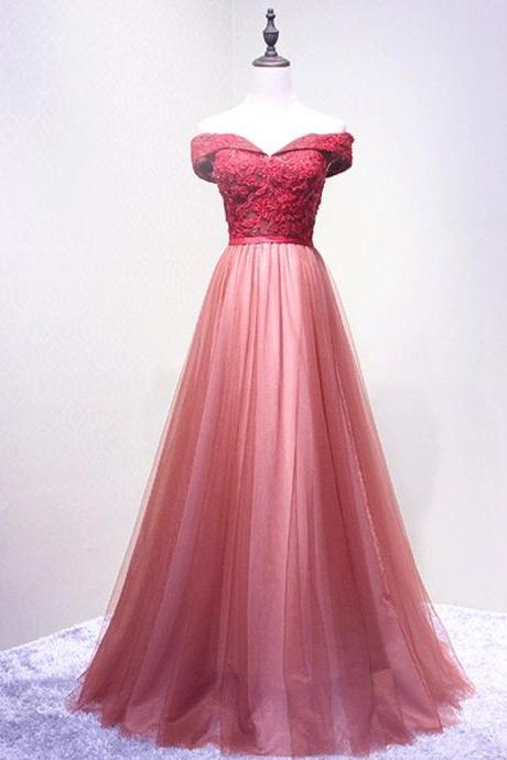Off Shoulder Cute Style Pink Party Dresses, Pink Party Dresses, Tulle Prom Dresses 2018