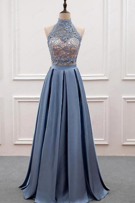 Two Piece Grey-Blue Long Prom Dresses, Two Piece Party Dresses, Evening Gowns, Women Formal Dresses