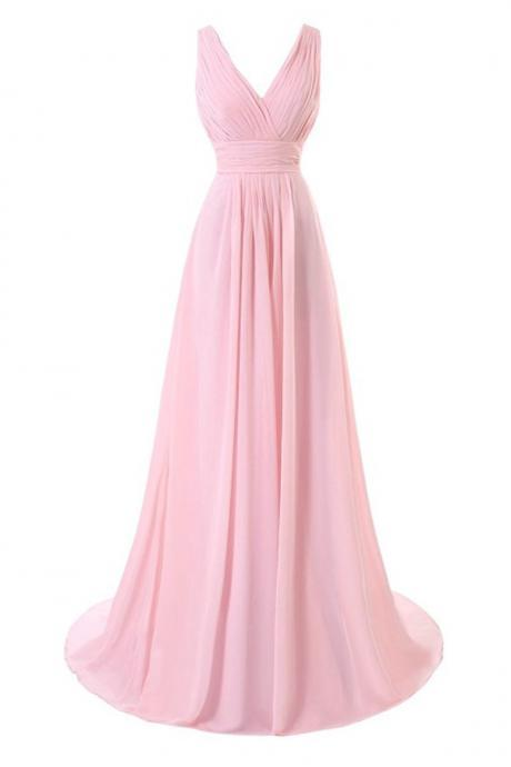 Simple Pink Long Chiffon Bridesmaid Dresses, V-neckline Pleat Women Dresses, Prom Dresses