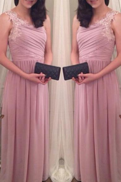 Lovely Pink One Shoulder Chiffon Prom Dresses, Pink Dresses with Lace Applique, Women Formal Dresses