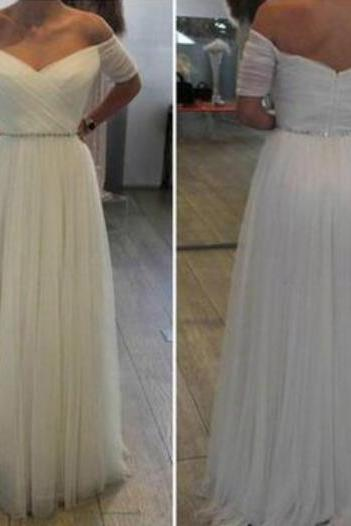 White Off Shoulder Short Sleeves Beaded Simple Prom Dresses, White Tulle Wedding Dresses, Party Dresses