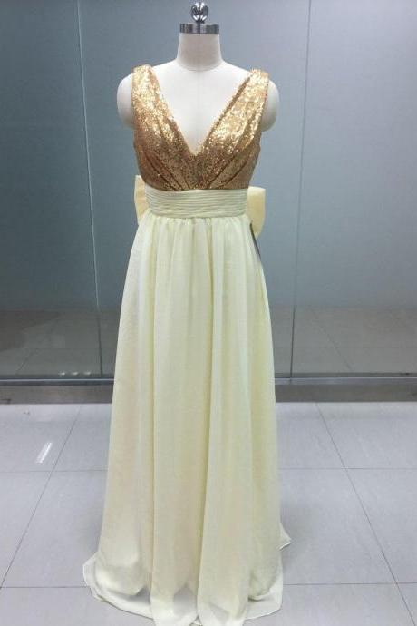 Simple V-neckline Gold Sequins Prom Dresses with Ivory Bridesmaid Dresses, Chiffon Bridesmaid Dresses with Bow, Prom Dresses