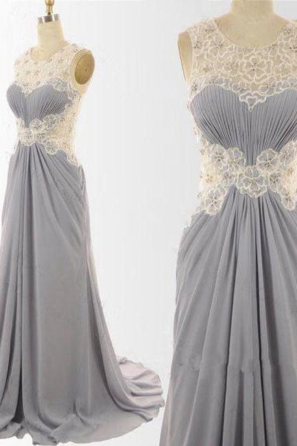 Elegant Grey Long Chiffon Prom Dresses, Grey Wedding Party Dresses with Lace Detail, Party Dresses 2018