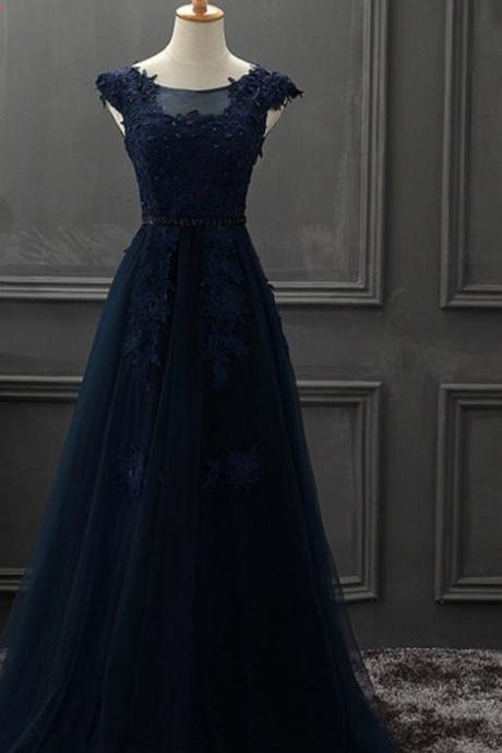 Navy Blue A-line Long Prom Dresses, Blue Formal Dresses, Evening Gowns, Party Dresses