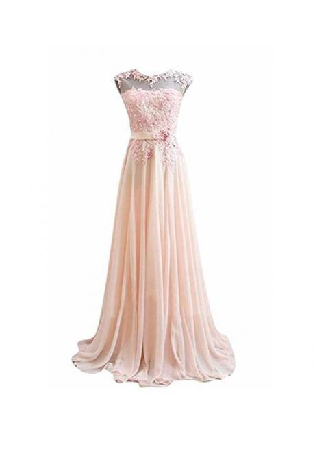 A Line Pink Long Lace Chiffon Prom Evening Dresses, Pink Bridesmaid Dresses, Formal Gowns