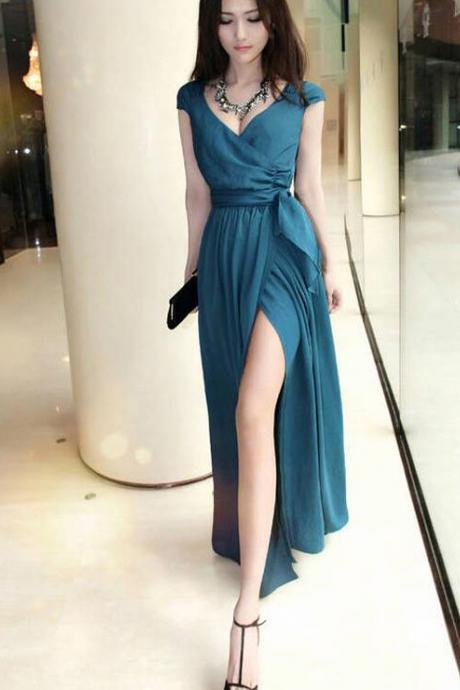 Simple Chiffon Slit Cap Sleeves Long Beach Wedding Party Dresses, Prom Dresses 2018, Formal Dresses