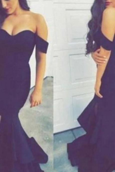 Custom Made Dark Blue Off-Shoulder High Split Mermaid Evening Dress, Prom Dresses, Wedding Dresses