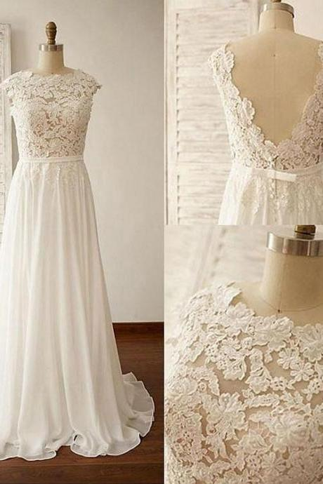 Custom Made White Bateau-Neckline Lace Empire Evening Dress, Prom Dresses, Wedding Dresses