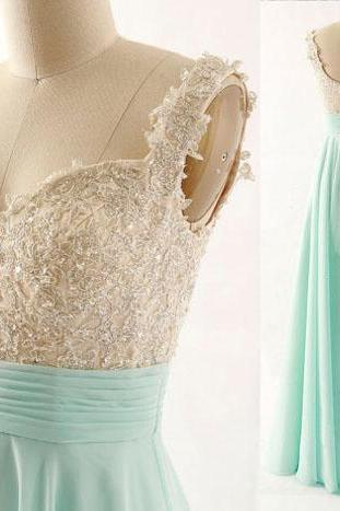 Mint Green Long Applique and Chiffon A-line Floor Length Party Gowns, Long Prom Dresses, Mint Party Dresses 2018