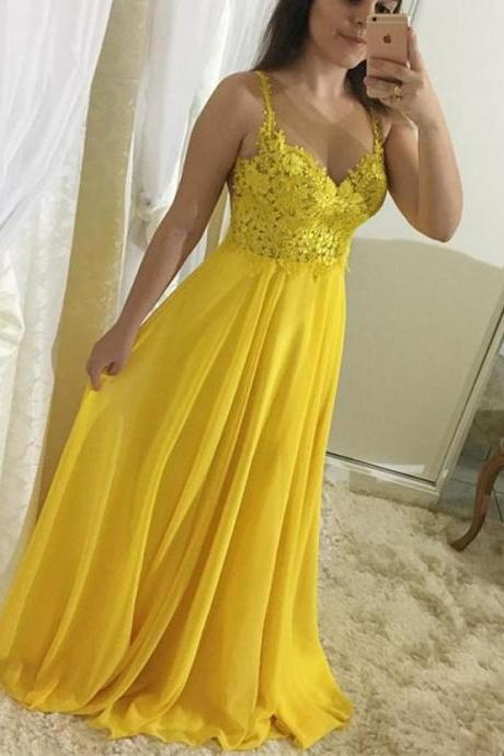 Yellow Lace and Chiffon Straps Prom Dresses 2018, A-line Formal Gowns, Party Dresses