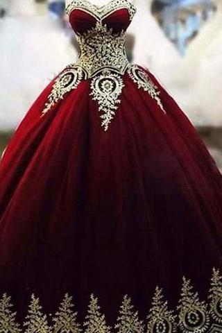 Dark Burgundy Tulle Sweetheart with Applique Vintage Prom Gowns, Lovely Formal Dresses, Sweet 16 Gowns