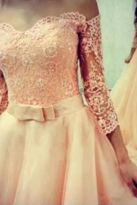 Pink Tulle Prom Dress with Applique, Off Shoulder Short Sleeves Party Dresses, Formal Gowns